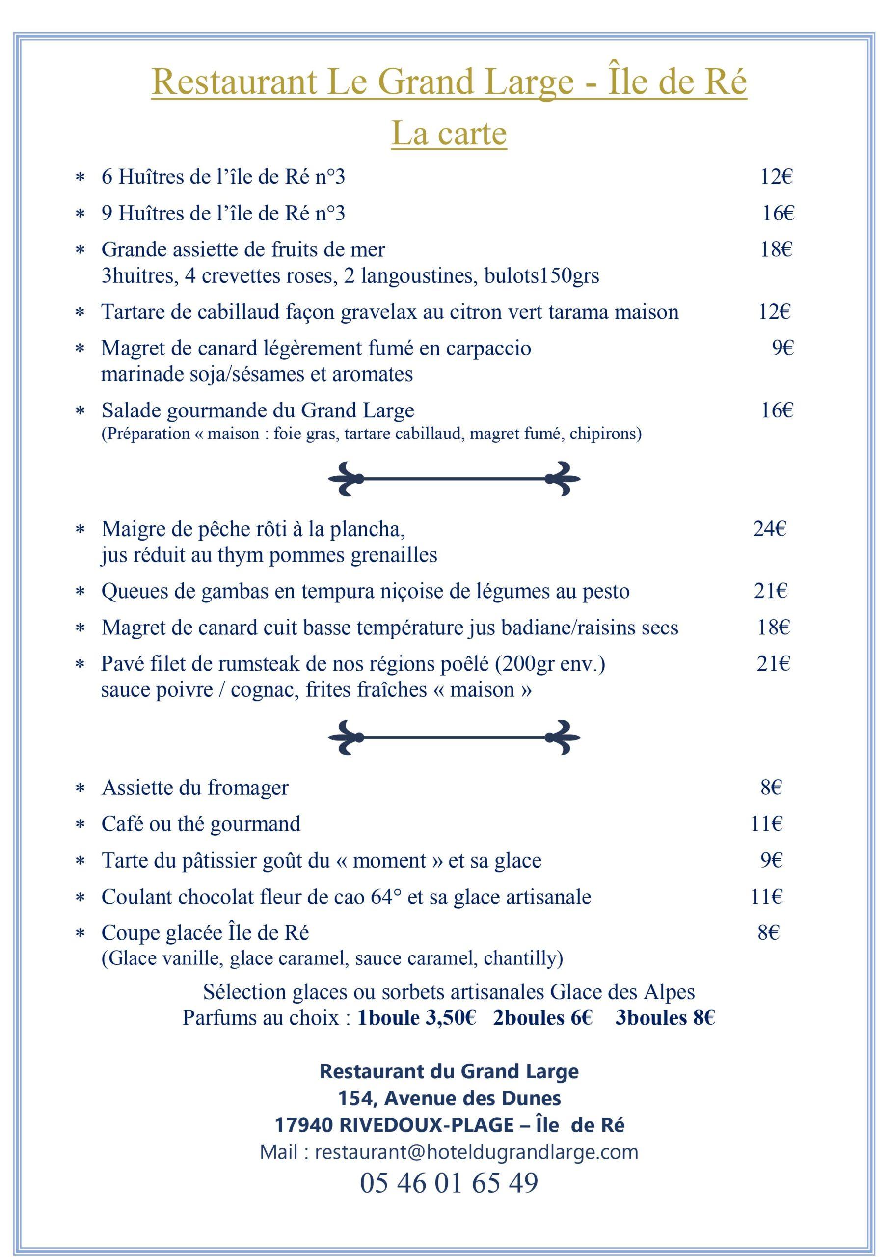 Carte d'été 2021 Restaurant Hôtel Le Grand Large Ile de Ré Juillet Aout